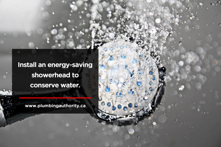 Install an energy-saving showerhead to conserve water.