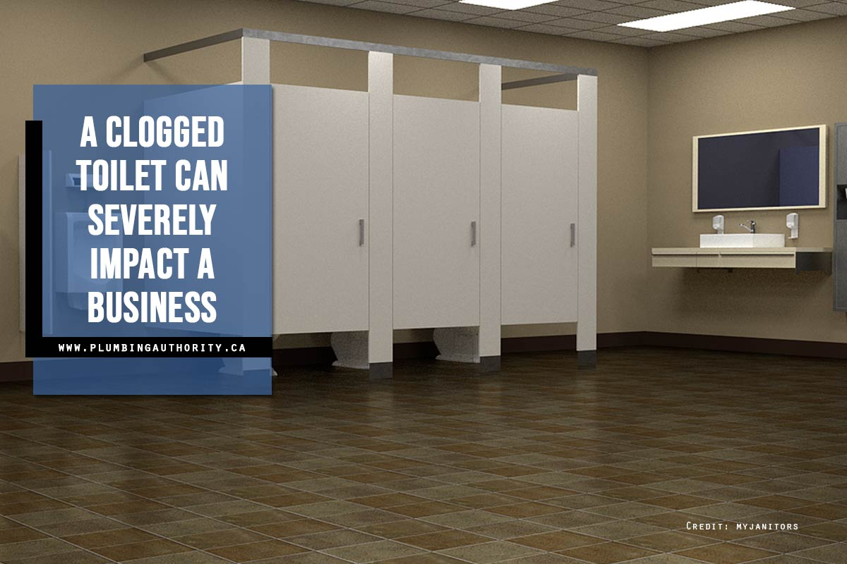 A clogged toilet can severely impact a business
