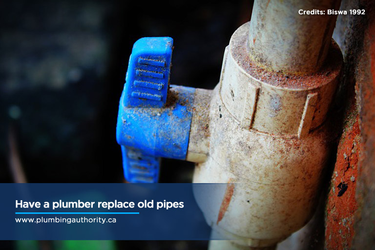 Have a plumber replace old pipes