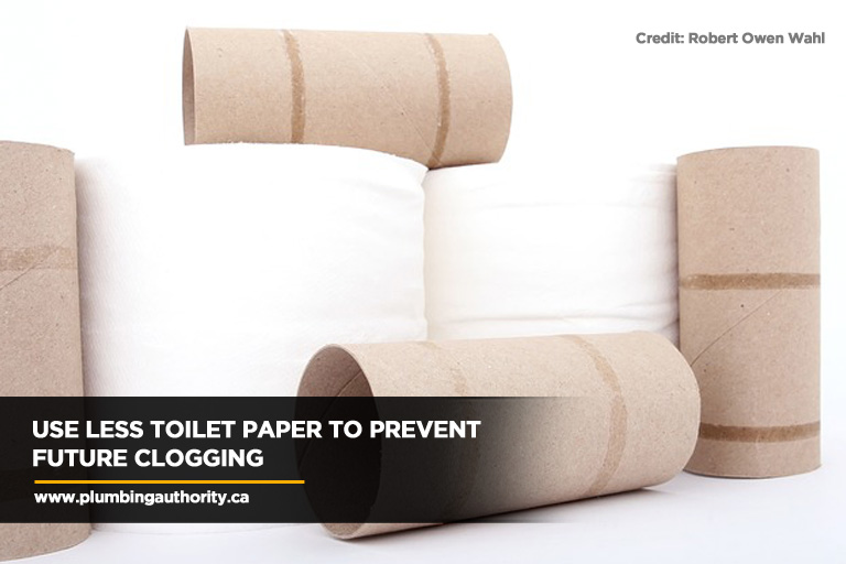 Use less toilet paper to prevent future clogging