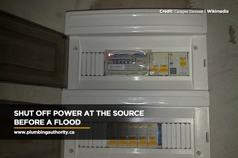 Shut off power at the source before a flood