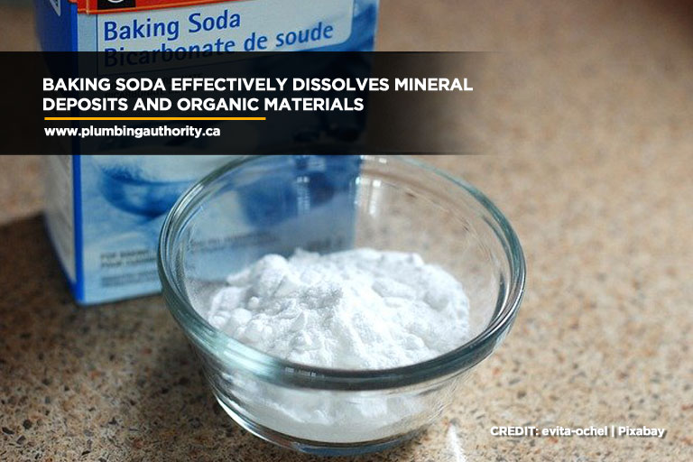 Baking soda effectively dissolves mineral deposits and organic materials