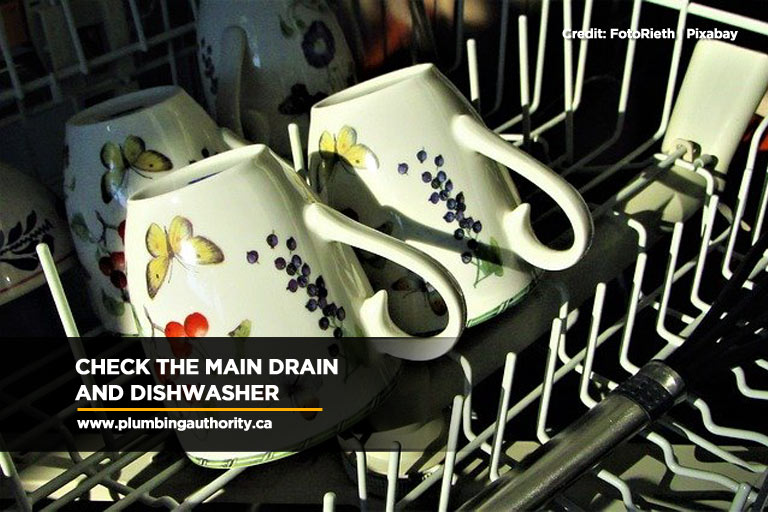 Check the main drain and dishwasher