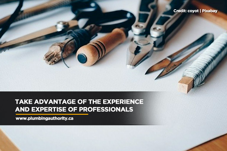 Take advantage of the experience and expertise of professionals